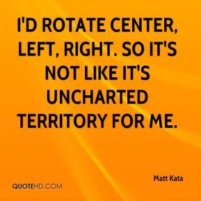 Matt Kata  - I'd rotate center, left, right. So it's not like it's uncharted territory for me.