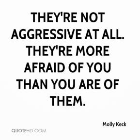 Molly Keck  - They're not aggressive at all. They're more afraid of you than you are of them.