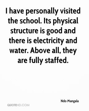 Ndo Mangala  - I have personally visited the school. Its physical structure is good and there is electricity and water. Above all, they are fully staffed.
