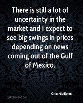 Orrin Middleton  - There is still a lot of uncertainty in the market and I expect to see big swings in prices depending on news coming out of the Gulf of Mexico.