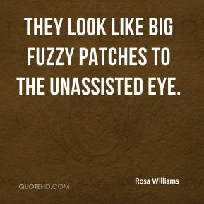Rosa Williams  - They look like big fuzzy patches to the unassisted eye.