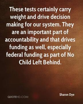 Sharon Dye  - These tests certainly carry weight and drive decision making for our system. They are an important part of accountability and that drives funding as well, especially federal funding as part of No Child Left Behind.