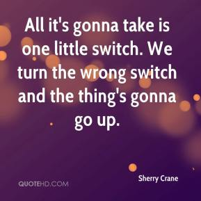 Sherry Crane  - All it's gonna take is one little switch. We turn the wrong switch and the thing's gonna go up.