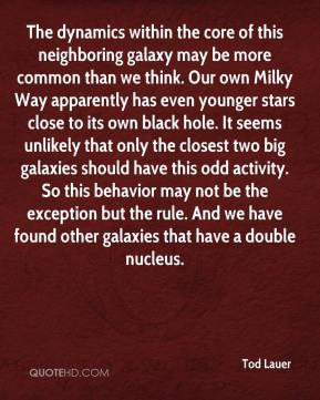 Tod Lauer  - The dynamics within the core of this neighboring galaxy may be more common than we think. Our own Milky Way apparently has even younger stars close to its own black hole. It seems unlikely that only the closest two big galaxies should have this odd activity. So this behavior may not be the exception but the rule. And we have found other galaxies that have a double nucleus.