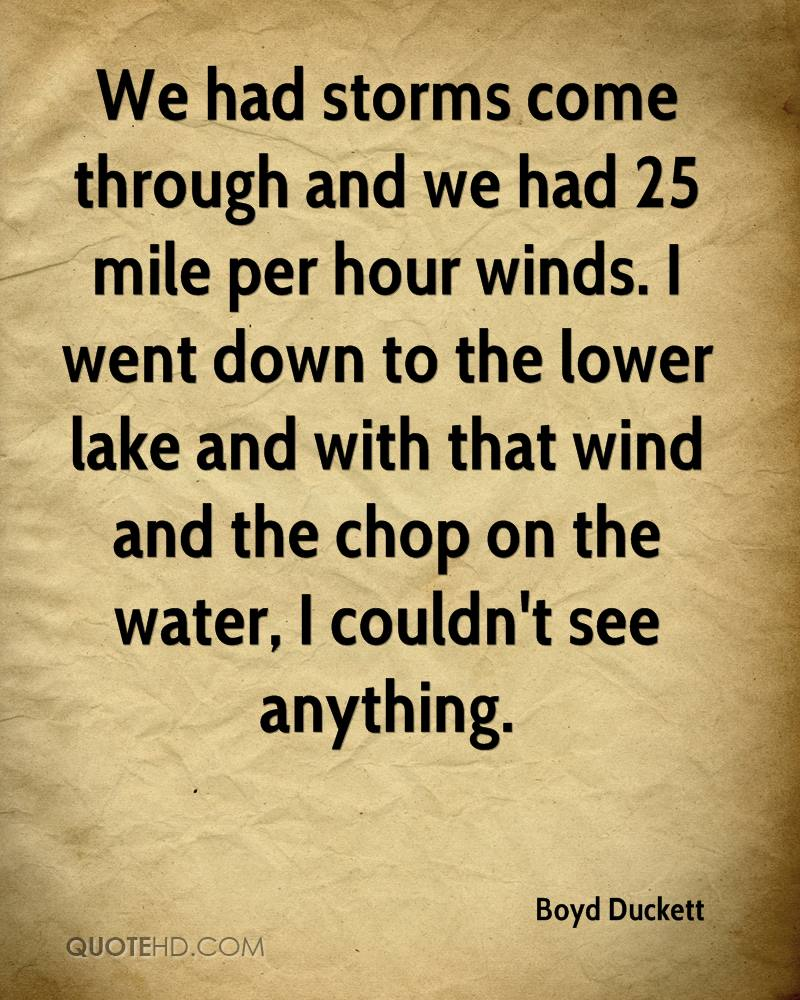We had storms come through and we had 25 mile per hour winds. I went down to the lower lake and with that wind and the chop on the water, I couldn't see anything.