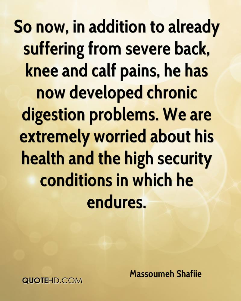 So now, in addition to already suffering from severe back, knee and calf pains, he has now developed chronic digestion problems. We are extremely worried about his health and the high security conditions in which he endures.