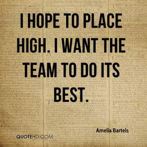 Amelia Bartels - I hope to place high. I want the team to do its best.