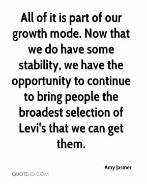 Amy Jasmer - All of it is part of our growth mode. Now that we do have some stability, we have the opportunity to continue to bring people the broadest selection of Levi's that we can get them.