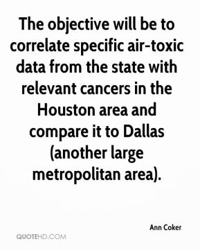 Ann Coker - The objective will be to correlate specific air-toxic data from the state with relevant cancers in the Houston area and compare it to Dallas (another large metropolitan area).