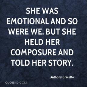 Anthony Graceffo - She was emotional and so were we. But she held her composure and told her story.