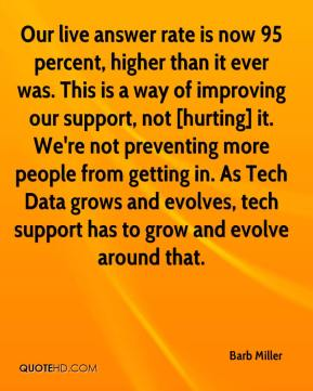 Barb Miller - Our live answer rate is now 95 percent, higher than it ever was. This is a way of improving our support, not [hurting] it. We're not preventing more people from getting in. As Tech Data grows and evolves, tech support has to grow and evolve around that.