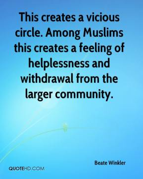 Beate Winkler - This creates a vicious circle. Among Muslims this creates a feeling of helplessness and withdrawal from the larger community.
