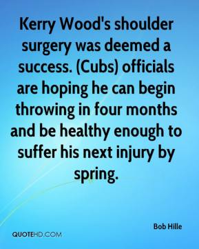 Bob Hille - Kerry Wood's shoulder surgery was deemed a success. (Cubs) officials are hoping he can begin throwing in four months and be healthy enough to suffer his next injury by spring.