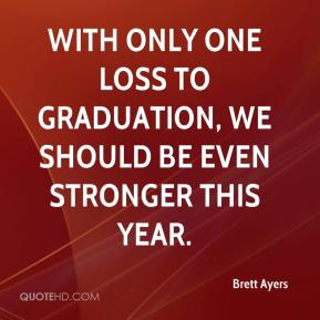 Brett Ayers - With only one loss to graduation, we should be even stronger this year.