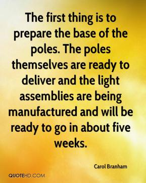 Carol Branham - The first thing is to prepare the base of the poles. The poles themselves are ready to deliver and the light assemblies are being manufactured and will be ready to go in about five weeks.