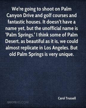 Carol Trussell - We're going to shoot on Palm Canyon Drive and golf courses and fantastic houses. It doesn't have a name yet, but the unofficial name is 'Palm Springs.' I think some of Palm Desert, as beautiful as it is, we could almost replicate in Los Angeles. But old Palm Springs is very unique.