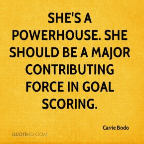 She's a powerhouse. She should be a major contributing force in goal scoring.