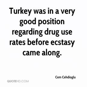 Cem Cehdioglu - Turkey was in a very good position regarding drug use rates before ecstasy came along.