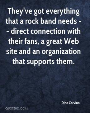 Dino Corvino - They've got everything that a rock band needs -- direct connection with their fans, a great Web site and an organization that supports them.