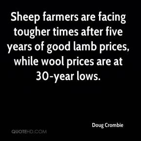 Doug Crombie - Sheep farmers are facing tougher times after five years of good lamb prices, while wool prices are at 30-year lows.
