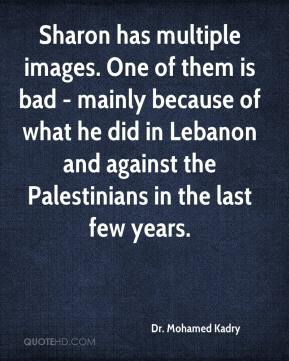 Dr. Mohamed Kadry - Sharon has multiple images. One of them is bad - mainly because of what he did in Lebanon and against the Palestinians in the last few years.