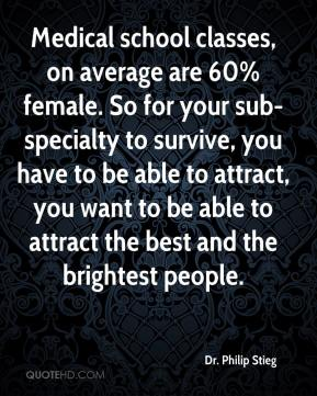 Dr. Philip Stieg - Medical school classes, on average are 60% female. So for your sub-specialty to survive, you have to be able to attract, you want to be able to attract the best and the brightest people.