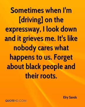 Sometimes when I'm [driving] on the expressway, I look down and it grieves me. It's like nobody cares what happens to us. Forget about black people and their roots.