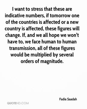 Fadia Saadah - I want to stress that these are indicative numbers, if tomorrow one of the countries is affected or a new country is affected, these figures will change. If, and we all hope we won't have to, we face human to human transmission, all of these figures would be multiplied by several orders of magnitude.