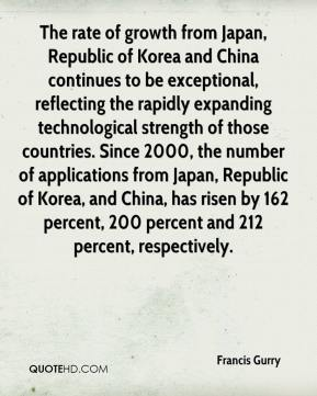 Francis Gurry - The rate of growth from Japan, Republic of Korea and China continues to be exceptional, reflecting the rapidly expanding technological strength of those countries. Since 2000, the number of applications from Japan, Republic of Korea, and China, has risen by 162 percent, 200 percent and 212 percent, respectively.