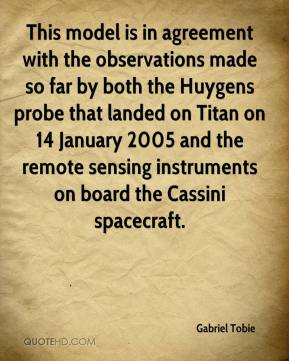 Gabriel Tobie - This model is in agreement with the observations made so far by both the Huygens probe that landed on Titan on 14 January 2005 and the remote sensing instruments on board the Cassini spacecraft.
