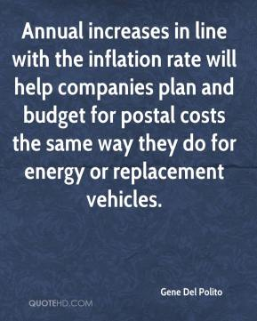 Gene Del Polito - Annual increases in line with the inflation rate will help companies plan and budget for postal costs the same way they do for energy or replacement vehicles.