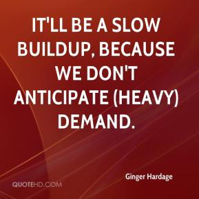 Ginger Hardage - It'll be a slow buildup, because we don't anticipate (heavy) demand.