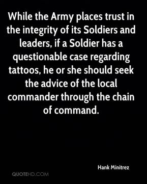 Hank Minitrez - While the Army places trust in the integrity of its Soldiers and leaders, if a Soldier has a questionable case regarding tattoos, he or she should seek the advice of the local commander through the chain of command.