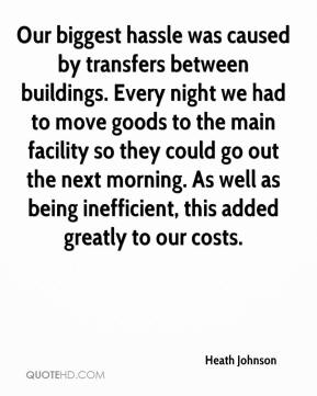 Heath Johnson - Our biggest hassle was caused by transfers between buildings. Every night we had to move goods to the main facility so they could go out the next morning. As well as being inefficient, this added greatly to our costs.