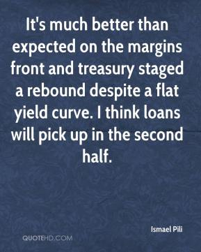 Ismael Pili - It's much better than expected on the margins front and treasury staged a rebound despite a flat yield curve. I think loans will pick up in the second half.