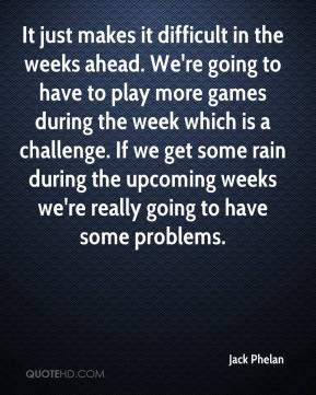 Jack Phelan - It just makes it difficult in the weeks ahead. We're going to have to play more games during the week which is a challenge. If we get some rain during the upcoming weeks we're really going to have some problems.