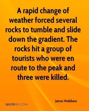 James Wakibara - A rapid change of weather forced several rocks to tumble and slide down the gradient. The rocks hit a group of tourists who were en route to the peak and three were killed.