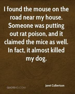 Janet Culbertson  - I found the mouse on the road near my house. Someone was putting out rat poison, and it claimed the mice as well. In fact, it almost killed my dog.
