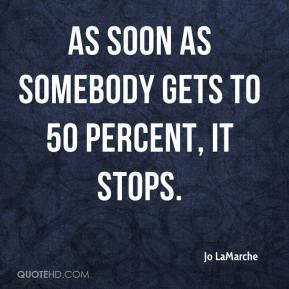 Jo LaMarche  - As soon as somebody gets to 50 percent, it stops.