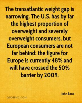 John Band  - The transatlantic weight gap is narrowing. The U.S. has by far the highest proportion of overweight and severely overweight consumers, but European consumers are not far behind: the figure for Europe is currently 48% and will have crossed the 50% barrier by 2009.