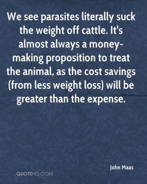 John Maas  - We see parasites literally suck the weight off cattle. It's almost always a money-making proposition to treat the animal, as the cost savings (from less weight loss) will be greater than the expense.