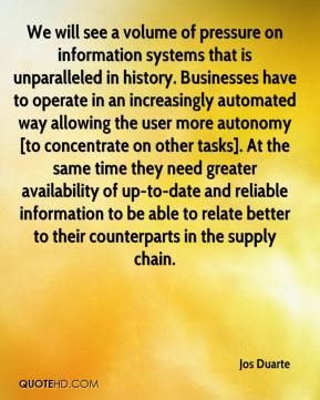 Jos Duarte  - We will see a volume of pressure on information systems that is unparalleled in history. Businesses have to operate in an increasingly automated way allowing the user more autonomy [to concentrate on other tasks]. At the same time they need greater availability of up-to-date and reliable information to be able to relate better to their counterparts in the supply chain.
