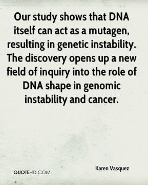 Karen Vasquez  - Our study shows that DNA itself can act as a mutagen, resulting in genetic instability. The discovery opens up a new field of inquiry into the role of DNA shape in genomic instability and cancer.