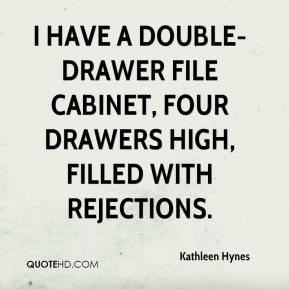 Kathleen Hynes  - I have a double-drawer file cabinet, four drawers high, filled with rejections.