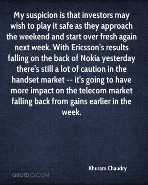 Khuram Chaudry  - My suspicion is that investors may wish to play it safe as they approach the weekend and start over fresh again next week. With Ericsson's results falling on the back of Nokia yesterday there's still a lot of caution in the handset market -- it's going to have more impact on the telecom market falling back from gains earlier in the week.