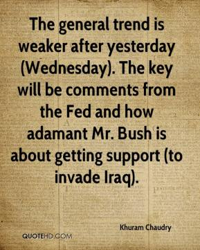 Khuram Chaudry  - The general trend is weaker after yesterday (Wednesday). The key will be comments from the Fed and how adamant Mr. Bush is about getting support (to invade Iraq).