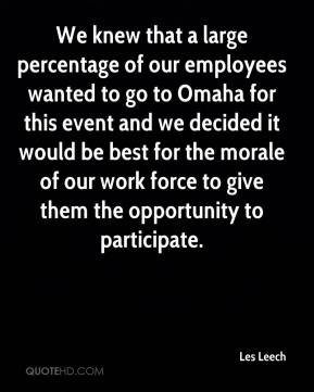 Les Leech  - We knew that a large percentage of our employees wanted to go to Omaha for this event and we decided it would be best for the morale of our work force to give them the opportunity to participate.