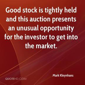 Mark Kleynhans  - Good stock is tightly held and this auction presents an unusual opportunity for the investor to get into the market.