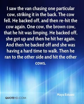 Maya Estuani  - I saw the van chasing one particular cow, striking it in the back. The cow fell. He backed off, and then re-hit the cow again. One cow, the brown cow, that he hit was limping. He backed off, she got up and then he hit her again. And then he backed off and she was having a hard time to walk. Then he ran to the other side and hit the other cows.