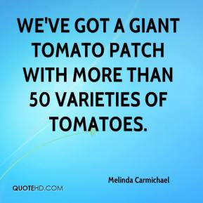 We've got a giant tomato patch with more than 50 varieties of tomatoes.